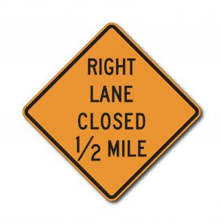 CW20-5 Left/Right Lane Closed X Mile (variable)