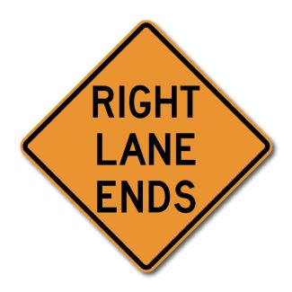 CW9-1 Lane Ends