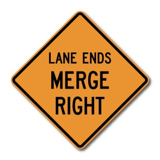 CW9-2 Lane Ends Merge