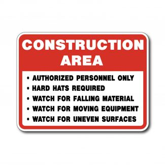 IS-129 Construction Area Hard Hats Required Watch for Falling Materials, Moving Equipment & Uneven Surfaces