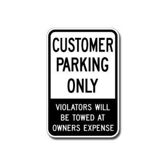 IS-17 Customer Parking Only, Violators Will Be Towed at Owners Expense