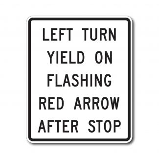 R10-27 Left Turn on Flashing Red Arrow After Stop