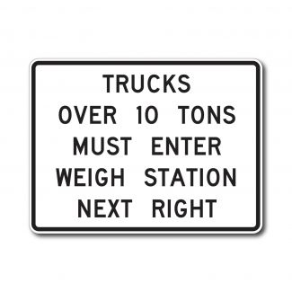 R13-1 Trucks Over XX Tons Must Enter Weighing Station Next Right (Variable)