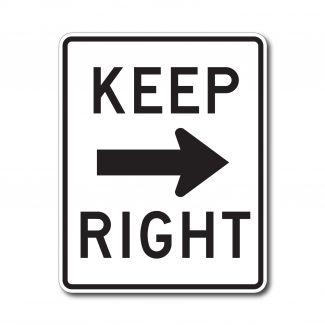 R4-7a Keep Right with Arrow