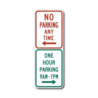 R7-200a No Parking Anytime/One Hour Parking 9AM - 7PM