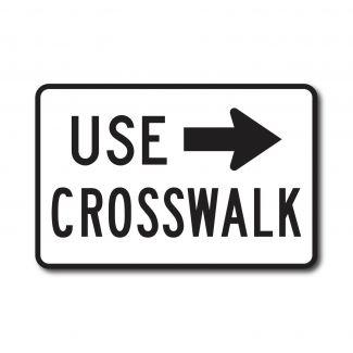 R9-3BP Use Crosswalk with Right Arrow