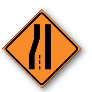 Right/Left Lane Drop Reflective Symbol Sign