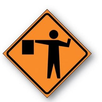 Flagger Symbol Reflective Roll-up Sign