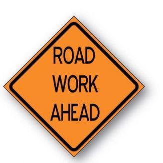 Road Work Ahead Reflective Roll-up Ahead