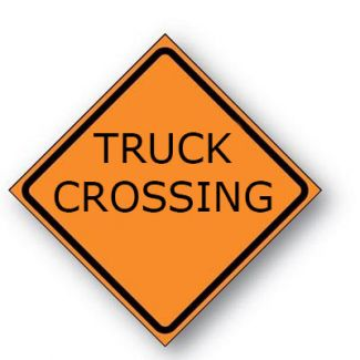 Truck Crossing Reflective Roll-up Sign