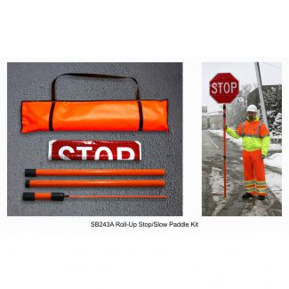 Roll-Up Reflective Stop/Slow Flagger Paddle