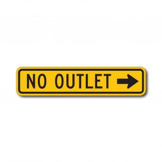 W14-2AL/R No Outlet with Arrow