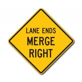 W9-2L/R Lane Ends Merge Left